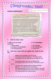 English Worksheets: Reading comprehension test: A tour of Babylon