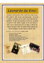 LEONARDO DA VINCI READING (true / false exercise)