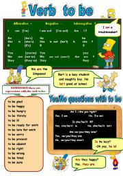 VERB TO BE WITH SIMPSONS - PRESENT FORM OF TO BE - GRAMMAR-GUIDE (POSTER) FOR TEENAGERS (B&W version included)