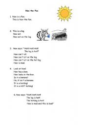 English Worksheets: Nox the Fox (2 pages)
