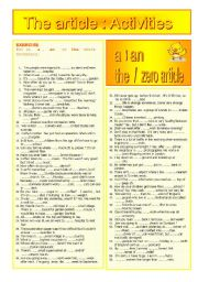 English Worksheet:  The article : activities
