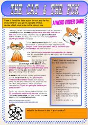English Worksheets: The Cat and The Fox. Question word order in statements? No!