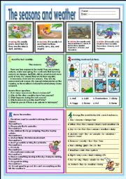 English Worksheet: The weather and seasons (Explanations of 4 seasons and weather)