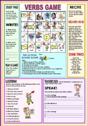English Worksheet: Verbs game
