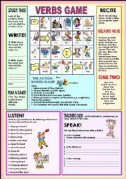 English Worksheet: Verbs game