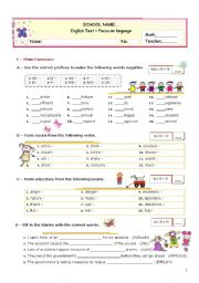 English Worksheet: Grammar Formative TEST for Advanced Students