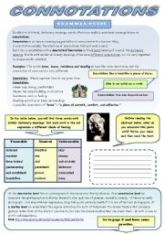 English Worksheets: CONNOTATIONS - GRAMMAR-GUIDE + 3 EXERCISES (3 pages + 3 pages of B&W version)