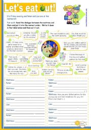 English Worksheet: Let�s eat out!  - Reading + Writing + Speaking activity for Intermediate or Upper Elementary students