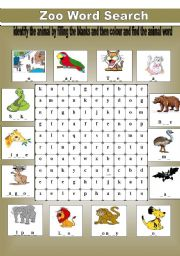 English Worksheets: zoo word search