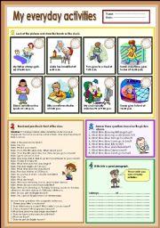 English Worksheet: My everyday activities