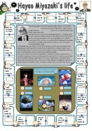 English Worksheets: Hayao Miyazaki� biography with dominoes