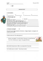 English Worksheet: TEST on Health & Sport  (specifically for French teachers)