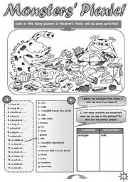 English Worksheet: MONSTERS� PICNIC - FUN ACTIVITY SET  FOR UPPER-ELEMENTARY AND PRE-NTERMEDIATE STUDENTS (countable uncountable nouns, containers, some any; speaking and writing practice) + STUDENT A  and  STUDENT  B PICTURES for pair work (3pages)