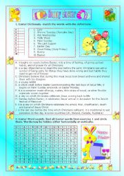 English Worksheet: Easter worksheet- matching and wordsearch -teachers guide and answers included