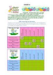 English Worksheet: Easter Egg Hunt Pairwork