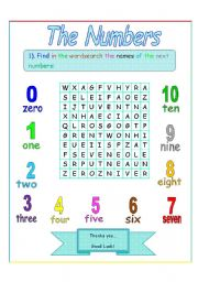 The numbers wordsearch