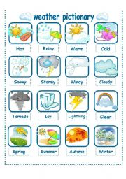 English Worksheet: WEATHER-SEASONS PICTIONARY