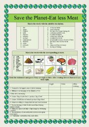 English Worksheet: Save the planet-eat less meat!