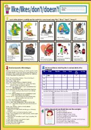 English Worksheets: Like/likes/don�t/doesn�t