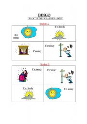 English Worksheet: Bingo Weather
