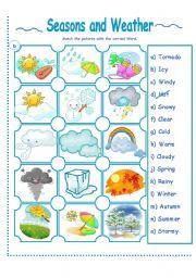 English Worksheet: SEASONS AND WEATHER ACTIVITY