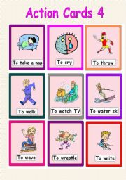 English Worksheets: Action Cards 4