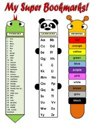English Worksheet: MY SUPER BOOKMARKS! (EDITABLE!!!) - FUNNY VOCABULARY BOOKMARKS FOR KIDS (numbers 1-100, alphabet, colours, body parts and days of the week) 2 pages B&W version included