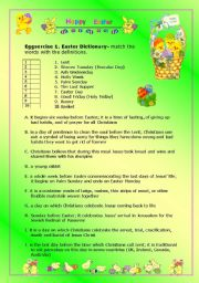 Easter worksheet- lesson-with a game- 4 pages-1,2 student worksheets, 3,4 teachers guide and answers included