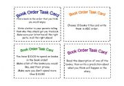 English Worksheets: Book Order Task Cards (2)