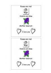 english worksheets mothers day poem. Black Bedroom Furniture Sets. Home Design Ideas