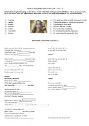 English Worksheet: Whenever, Wherever (Shakira)