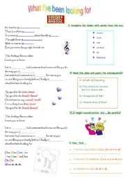 English Worksheet: What I�ve been looking for. (High school Musical)