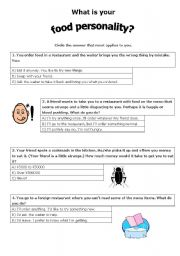 photograph about Personality Tests Printable titled Foodstuff quiz worksheets