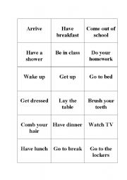 English worksheet: daily routines memory game