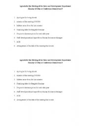 English Worksheet: Exercise/Proofreading on Agenda