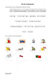 English Worksheet: Vocabulary Cryptogram