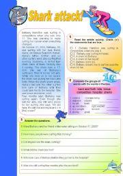 English Worksheets: Shark attack!
