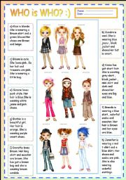 English Worksheet: GUESS WHO IS WHO? :) +answer key