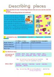 English Worksheets: Describing Rooms (2 pages)