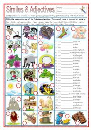 English Worksheets: Similes and Adjectives (part 1)