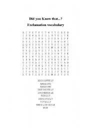 English Worksheet: Exclamation vocabulary