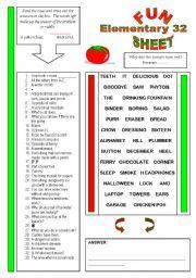 English Worksheets: Fun Sheet Elementary 32