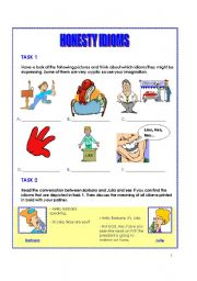 English worksheet: Honesty idioms