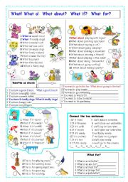 English Worksheets: uses of what, what if, what for, what about