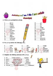 English Worksheet: Definite and Indefinite Articles