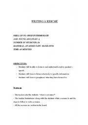 English Worksheets: writing a resume