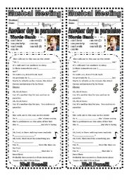 English Worksheet: Worksheet: Verb can with song  (with answer key)