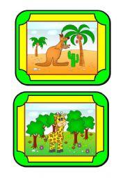 English Worksheet: Habitat Cards (1/8) - animals