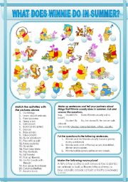 English Worksheet: WHAT DOES WINNIE DO IN SUMMER?