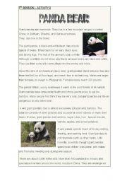 English Worksheets: PANDA BEAR